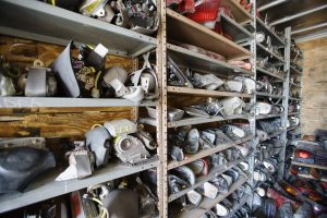 Car parts on shelf